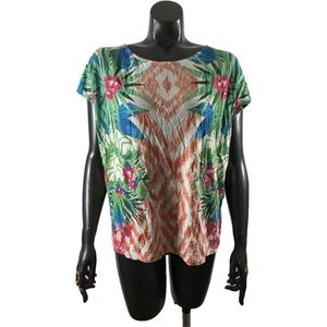 Chico's Size 2 Tropical Foliage Print Tee Shirt